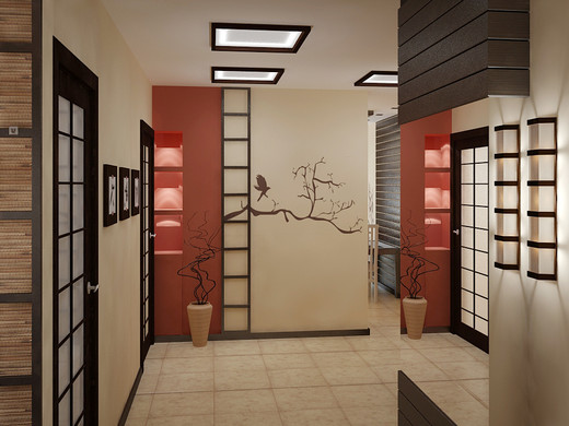 Сдержанный японский стиль для просторной прихожей