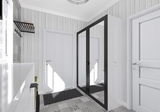 Черные детали в интерьере прихожей для скандинавского стиля