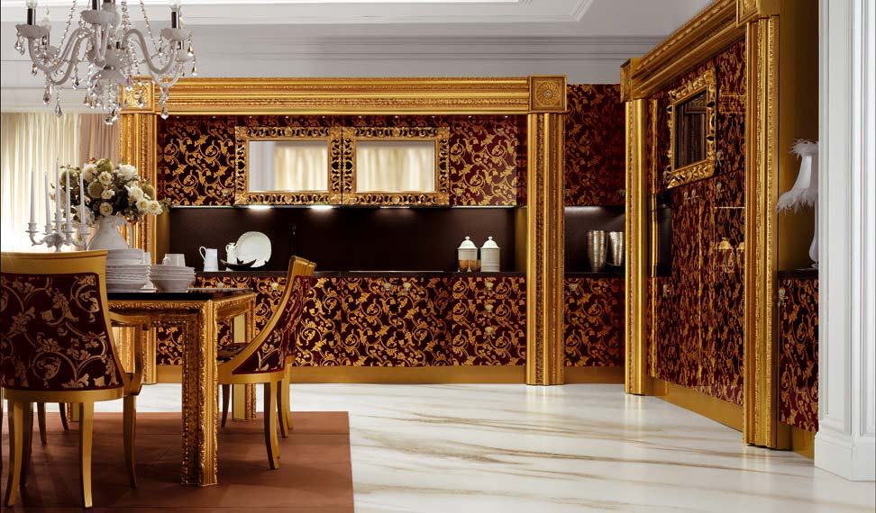Яркая копусная мебель для стиля ренессанс с вставками ткани