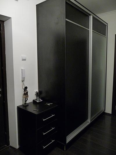 Мебель в прихожей, созданной в черном цвете