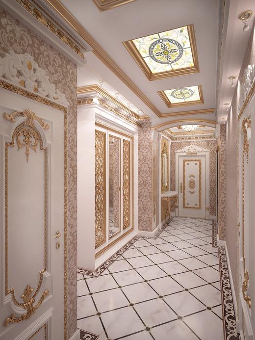 Длинная прихожая в золотом и белом цвете с элементами барокко стиля