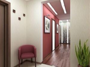 Прихожая в красном цвете с белыми деталями в стиле минимализм