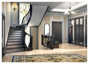 Шикарная прихожая в двухэтажном доме в стиле модерн