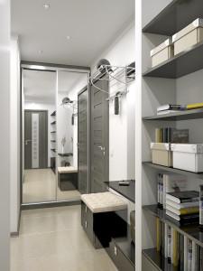 Бело-серая прихожая с практичными шкафами
