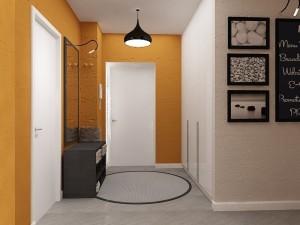 Бледный оранжевый оттенок стен в дизайне прихожей