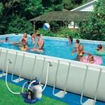 Большой каркасный бассейн с фильтром для воды
