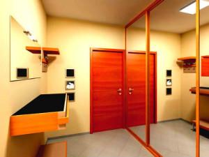 Детали дизайна прихожей сочного оранжевого цвета