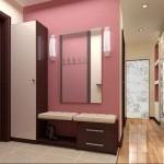 Бледная розовая отделка прихожей японского стиля