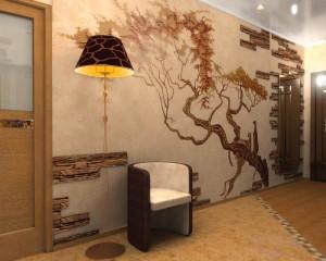 Дизайн стены в прихожей светло-оранжевого цвета