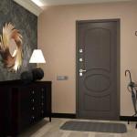 Дверь входная как часть дизайна прихожей в сером цвете