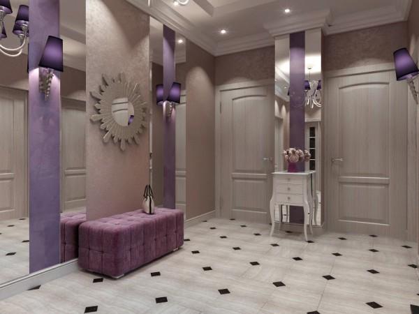 Светлые бежевые тона в прихожей с фиолетовыми деталями в арт-деко