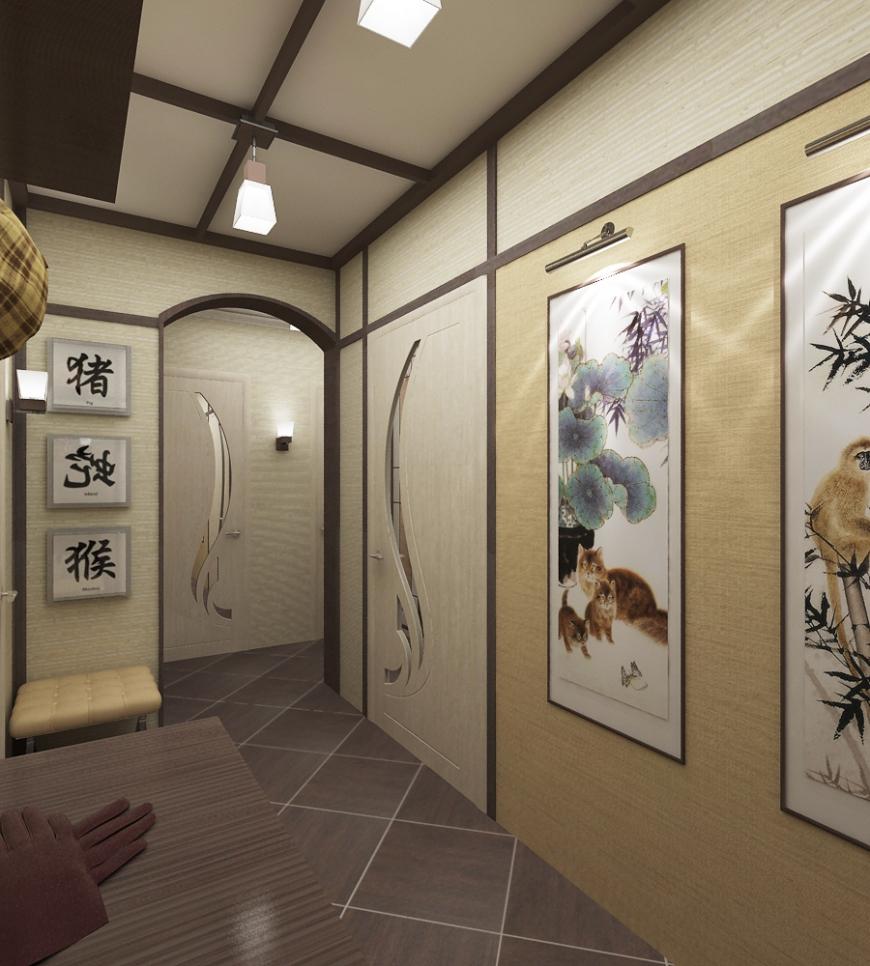 Яркие картины для оформления японского стиля в красивой прихожей