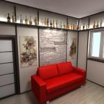 Красный диван как акцент для японского стиля оформления прихожей