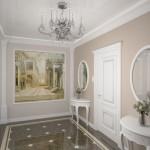 Хрустальная люстра для прихожей в белом оформлении стиля модерн