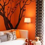 Использование оранжевого оттенка в японском стиле в прихожей
