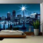 Изображение ночного города для оформления гостиной фотообоями