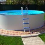 Каркасный бассейн облагороженный тротуарной плиткой