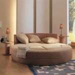 Круглая кровать для необычного дизайна спальни