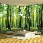 Лес на фотообоях для эко стиля в помещении