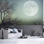 Луна на фотообоях для гостиной комнаты