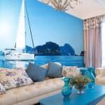 Морская тематика фотообоев для бело-голубой гостиной