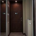 Один светильник для подсветки двери внутри квартиры