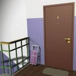 Однотонная коричневая входная дверь