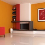 Оранжевая прихожая в стиле минимализм