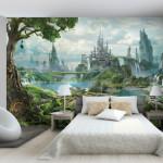 Сказочный город в нежных цветах для спальни