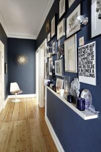 Декорированная стенка оформленная в синем цвете в прихожей