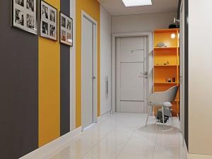 Сочетание яркого оранжевого и черного цвета в прихожей