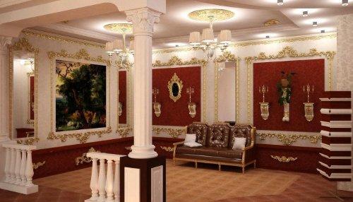 Красные вставки на стенах в ампир стилистике для просторной прихожей