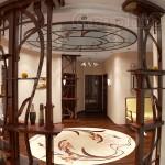 Изогнутые элементы из дерева в стиле модерн в прихожей