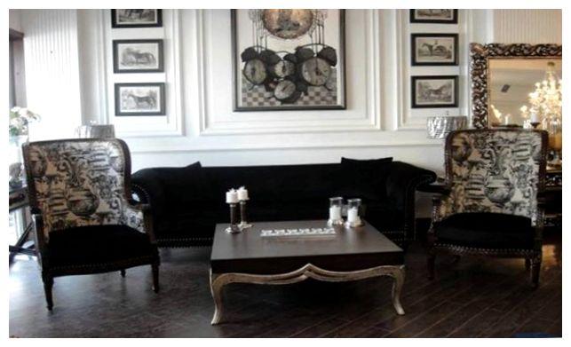 Элегантный черный интерьер прихожей в стиле ренессанс