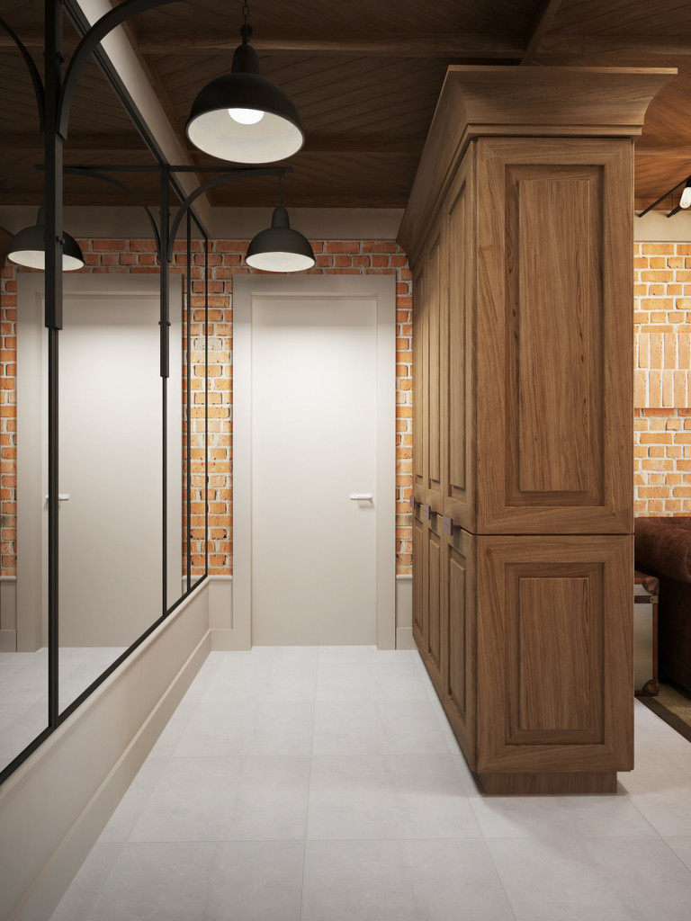 Длинная прихожая с большими зеркалами оформленная в лофт стиле