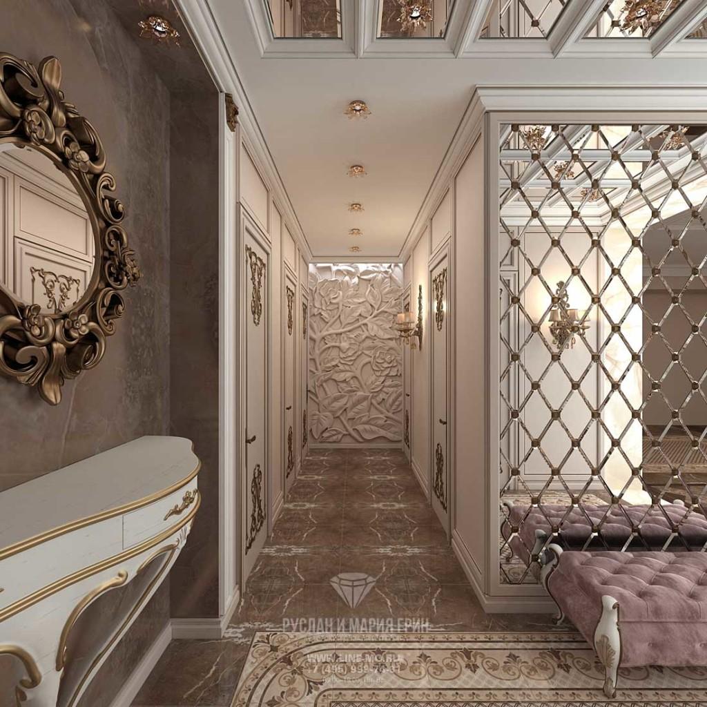 Позолота в деталях интерьера прихожей стиля модерн