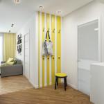 Интерьер с небольшой деталью в желтом цвете в прихожей