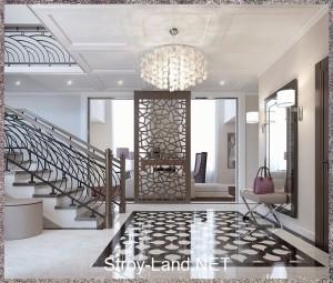 Шахматная доска в оформлении пола арт-деко стиля просторной прихожей