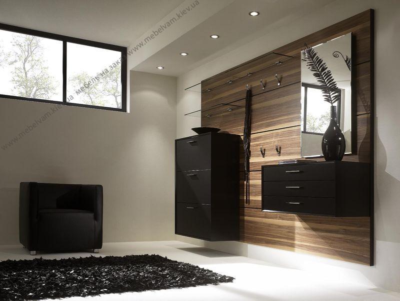 Прихожая с матовой черной мебелью для стиля хай-тек