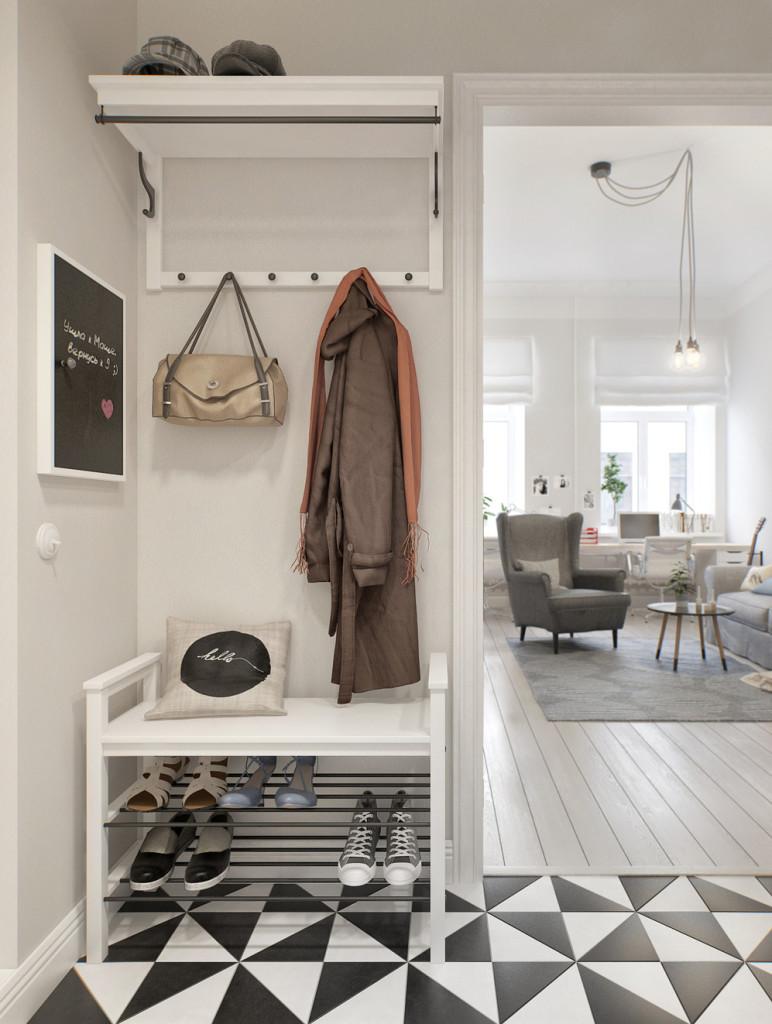 Глянцевый пол для скандинавского стиля в прихожей