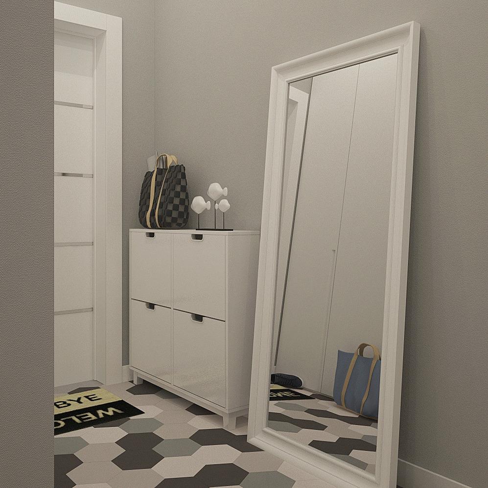 Большое зеркало в белой раме в скандинавском стиле для небольшой прихожей