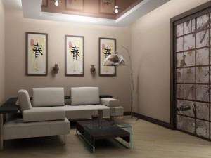Интерьер в белом тоне в японском стиле с картинами в прихожей