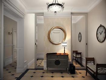 Круглое зеркало в золотом оформлении врт-деко для создания уютной прихожей