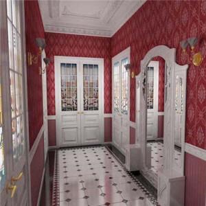 Красные обои в просторной прихожей с белоснежной деревянной мебелью