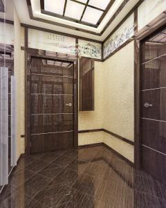 Глянцевые поверхности дверей для японского стиля в дизайне прихожей