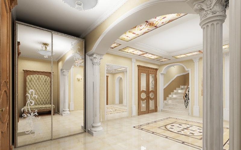 Просторная белая прихожая без дверей в стиле модерн