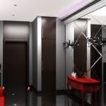 Темные стены в сочетании с металлик в стиле хай-тек в прихожей