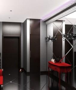 Темные стены в сочетнии с металлик в стиле хай-тек в прихожей