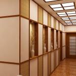 Плетеные элементы в отделке прихожей японского стиля