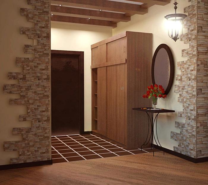 Приходая с металлическим столиком сочетающимся с шкафом-купе в стиле кантри
